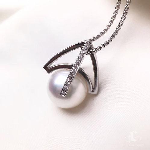 0.20ct Diamond AAAA 12-13mm White South Sea Pearl Pendant, 18k White Gold