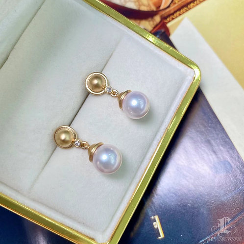 AAAA 8-8.5 mm Akoya Pearl Earrings 18k Gold w/ Diamond