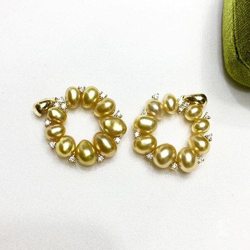 0.23ct Diamond KESHI Wild Golden South Sea Pearl Pendant, 18k Gold