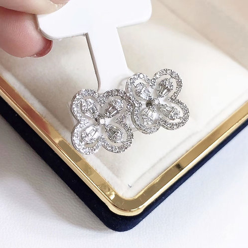 1.00 ct H/SI Micro-Pave Natural Diamond Flower Stud Earrings 18k Gold