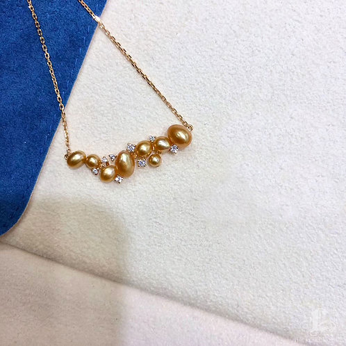 KESHI 4.5-7 mm Wild South Sea Pearl Pendant, 18k Gold w/ Diamond