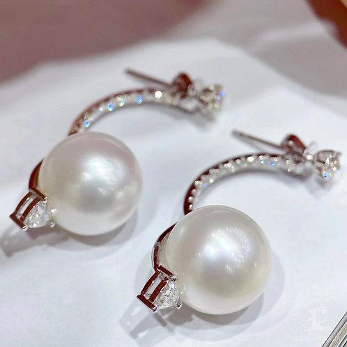 1.10ct Diamond, AAAA 12-13 mm South Sea Pearl Earring Jacket, 18k White Gold
