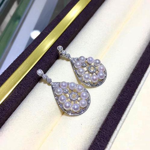 AAAA 3.5-4 mm Baby Akoya Pearl Retro Earrings 18k Gold w/ Diamond