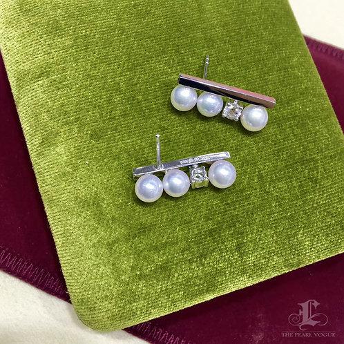 Famous Style! AAAA 5.5-6 mm Baby Akoya Pearl Classic Earrings, 18k Gold w/ Diamd