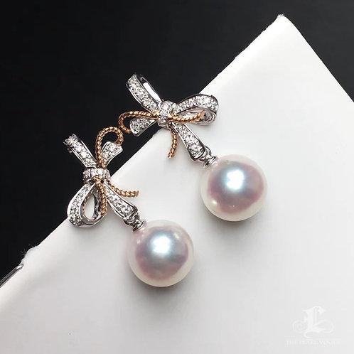 0.23ct Diamond, AAAA 8-8.5mm Akoya Pearl Bow Earrings, 18k Gold