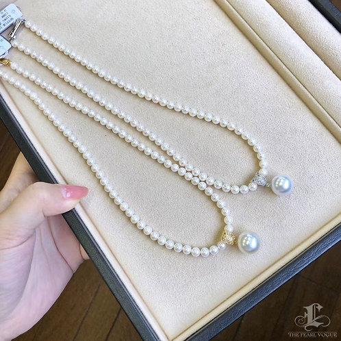 45cm, AAA 13-14 mm South Sea Pearl Collar Pendant Set 18k Gold w/ Diamond