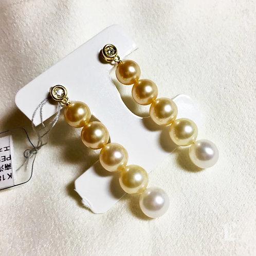 AAA 7-8 mm South Sea Pearl Gradient Ombre Earrings 18k Gold
