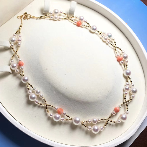 45cm, AAAA 4-8.5mm Akoya Pearl Tin Cup Necklace, 18k White Gold w/ Natural Coral