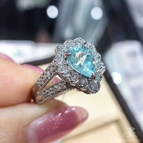 1.02 ct Natural Paraiba Tourmaline Ring 18k Gold Diamond