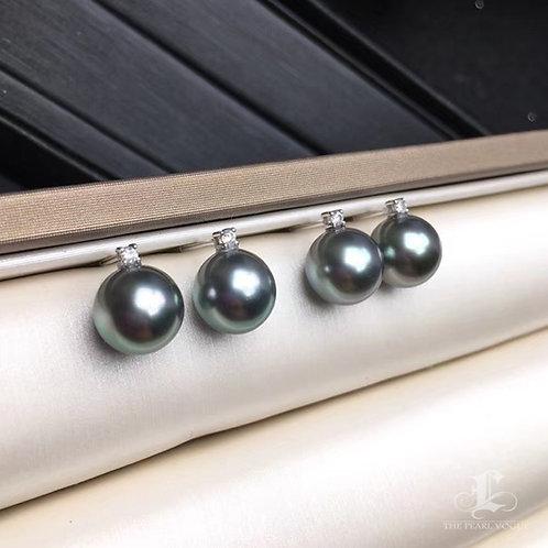 AAAA 9-10mm Tahitian Pearl Classic Earrings, 18k White Gold w/ Diamond