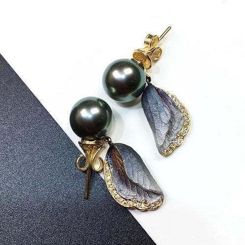 AAAA 10mm Tahitian Pearl Flamboyant Earrings, 18k Gold w/ Diamond