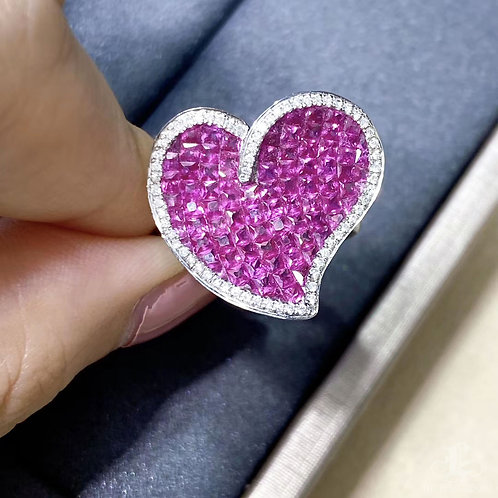 3.30 ct Natural Pink Sapphire Micro-Pave Heart Ring 18k Gold w/ Diamond