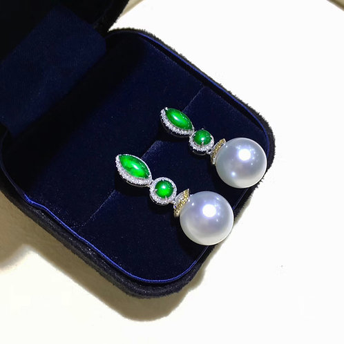 0.62ct Diamond AAAA 12-13 mm South Sea Pearl Earring 18k Gold w/ Burmese Jadeite