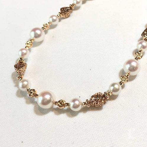 53cm, 5.5-8 mm Akoya Pearl Novel Strand Necklace 18k Gold - AAAA