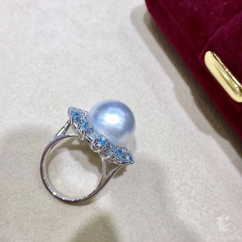 2.8ct  Aquamarine, AAAA 14-15 mm South Sea Pearl Luxury Ring 18k Gold w/ Diamond