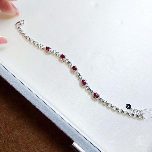 1.486ct Vivid Red Ruby Bracelet 18k Gold w/ Diamond w/ GUILD Certificate