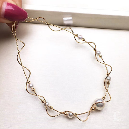 45cm, AAAA 4-8.5mm Akoya Pearl Lace Collar 18k Gold