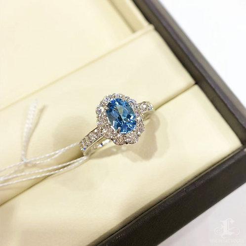 0.845 ct Blue Natural Aquamarine Ring PT Gold Diamond w/ Certificate
