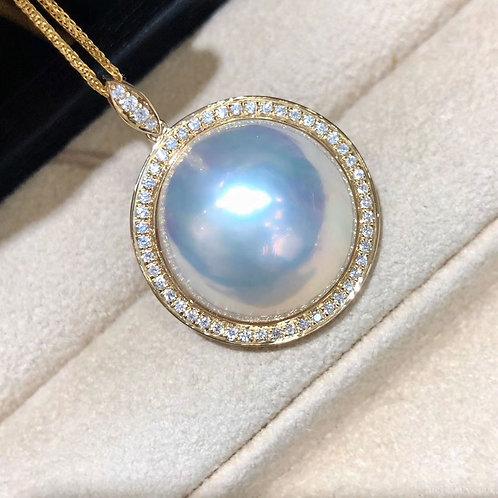 0.48ct Diamond AAAA 20-21 mm Mabe Pearl Classic Pendant 18k Gold