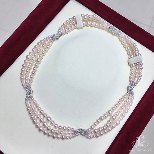40cm Famous Style! AAAA 3-7 mm Baby Akoya Pearl Triple Strand Necklace 18k Gold