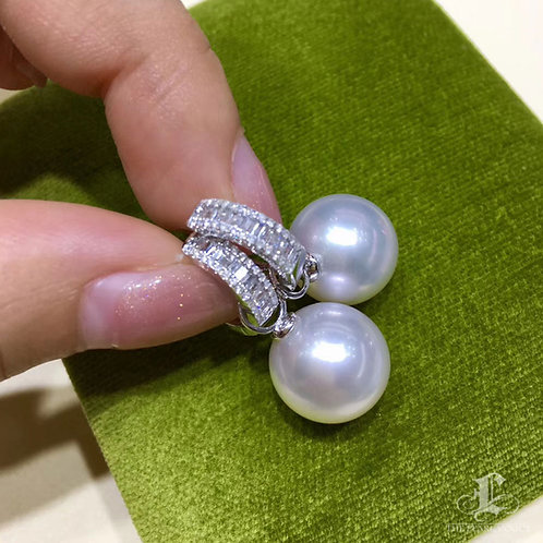 0.60ct Diamond AAAA 12-13 mm South Sea Pearl Classic Earrings 18k Gold