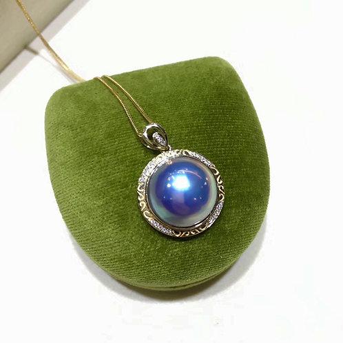 AAAA 14-15 mm Mabe Pearl Classic Pendant 18k Gold w/ Diamond