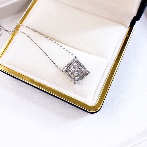 1/2 ct GH/SI Micro-Pave Natural Diamond Pendant Necklace 18k Gold