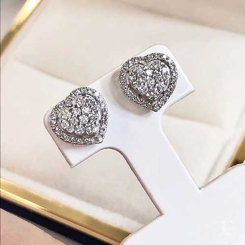 1/2 ct H/SI Micro-Pave Natural Diamond Heart Stud Earrings 18k Gold