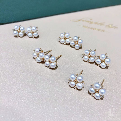 AAAA 3.5-4 mm Baby Akoya Pearl Fashion Earrings, 18k Gold w/ Diamond