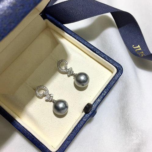 0.32ct Diamond AAAA 10-11mm Tahitian Pearl Earrings, 18k White Gold