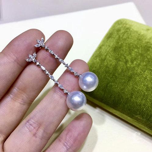 0.75ct Diamond AAAA 10-11mm Aurora South Sea Pearl Classic Earrings 18k Gold