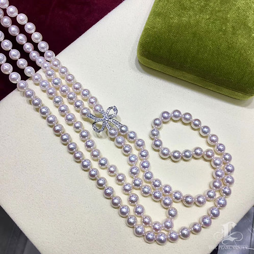 70cm Long Necklace, AAAA 7-7.5 mm Akoya Pearl Double Strand 18K Gold w/ Diamond