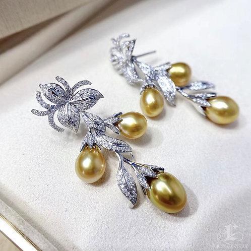 1.25ct Diamond KESHI 6.5-13 mm Wild South Sea Pearl Royal Earrings 18k Gold