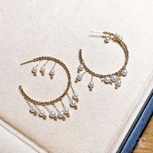 AAAA 3.5-4 mm Akoya Pearl Fashion Earrings 18k Gold