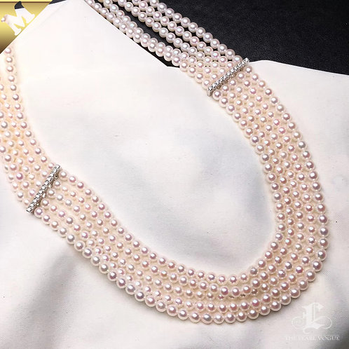 42cm, PMS Rin Color|彩凜珠 3-3.5mm Akoya Pearl 5 Strand w/ Japanese Certificate