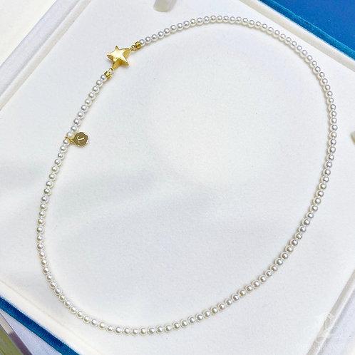 42cm, AAAA 3-3.5 mm Baby Akoya Pearl Necklace 18K Gold