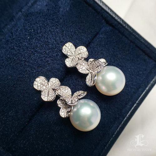 0.65ct Diamond AAAA 11-12mm White South Sea Pearl Earrings, 18k White Gold