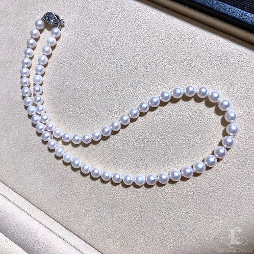 44cm, Hanadama|花珠 6.5-7mm Akoya Pearl Classic Necklace w/ Japanese Certificate