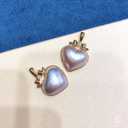 AAAA 18-20 mm  Mabe Pearl Heart Pendant 18k Gold w/ Diamond