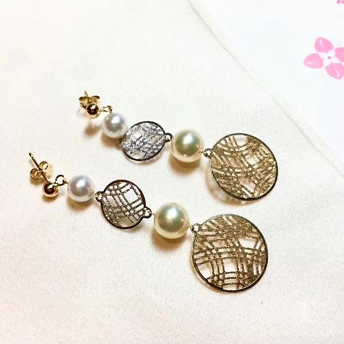 AAAA 6.5-9 mm Akoya Pearl Fashion Earrings 18k Gold