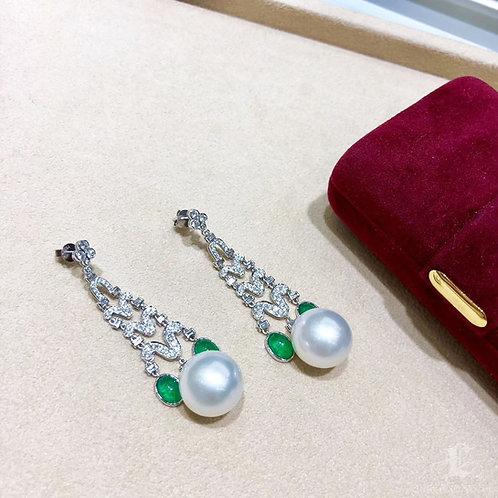 3.12ct Emerald, AAAA 13-14 mm South Sea Pearl Royal Earrings 18k Gold w/ Diamond