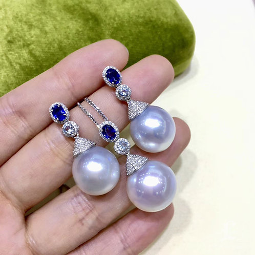 0.35ct Diamond AAAA 15-16mm South Sea Pearl Luxury Pendant  18k Gold w/ Sapphire