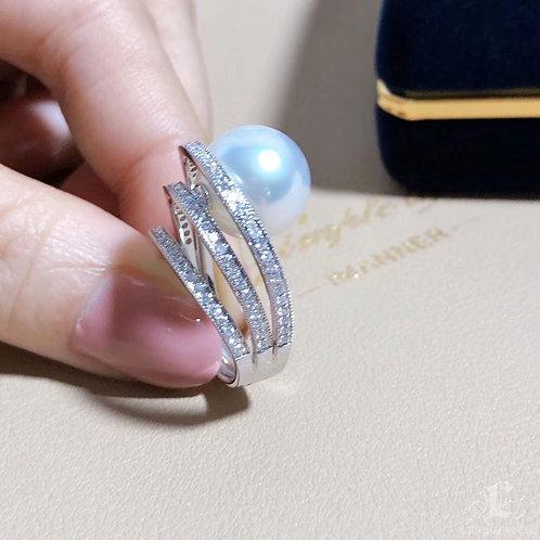 0.61 ct Diamond AAAA 12-13 mm South Sea Pearl Luxury Ring Pendant 18k Go