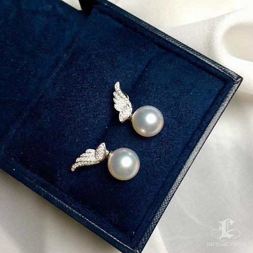 0.24ct Diamond AAAA 10-11mm White South Sea Pearl Earrings, 18k White Gold