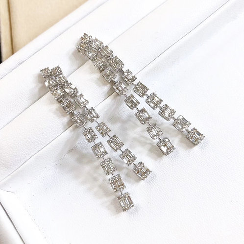 3.76 ct GH/SI Micro-Pave Natural Diamond Chandelier Earrings 18k Gold