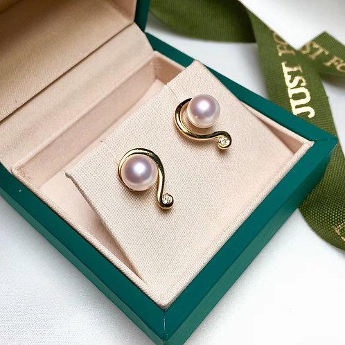 AAAA 7.5mm Akoya Pearl Fashion Earring 18k Gold