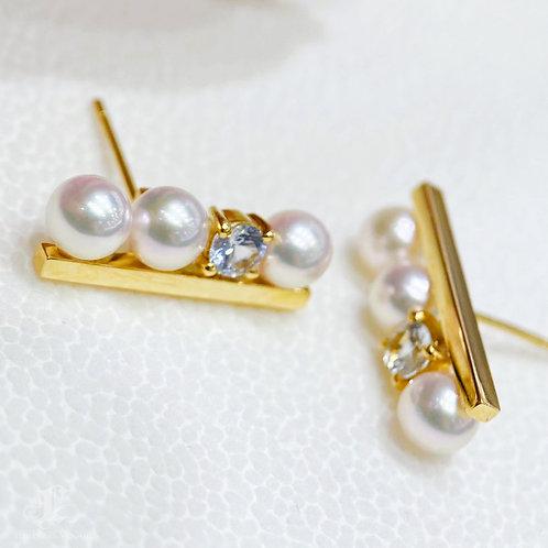 AAAA 5-6 mm Akoya Pearl Earrings, 18k Gold w/ Sapphire
