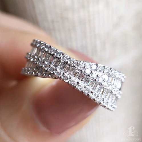 0.60 ct FG/SI Natural Diamond Micro-Pave Ring 18K Gold