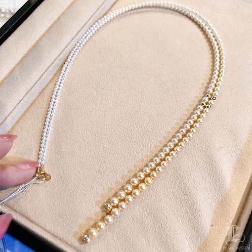 80 cm, AAAA 2.8-5.6 mm Akoya Pearl Gradient Ombre Sweater Strand 18k Gold
