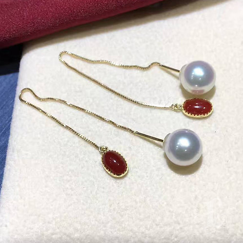 AAA 7-7.5mm Akoya Pearl Threader Earrings, 18k Gold w/ Red Coral